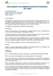 REGLAMENTO DE ADMINISTRACION DE PERSONAL DEL INEN
