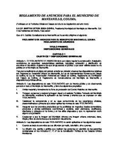 REGLAMENTO DE ANUNCIOS PARA EL MUNICIPIO DE MANZANILLO, COLIMA