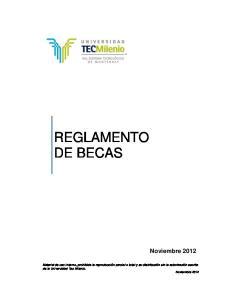 REGLAMENTO DE BECAS. Noviembre 2012