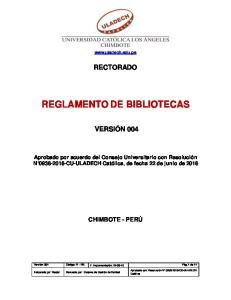 REGLAMENTO DE BIBLIOTECAS