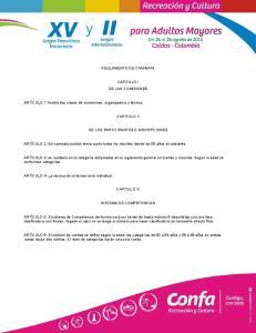 REGLAMENTO DE CAMINATA CAPITULO I DE LAS COMISIONES CAPITULO II DE LOS PARTICIPANTES E INSCRIPCIONES