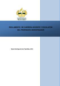 REGLAMENTO DE CARRERA DOCENTE Y ESCALAFON DEL PROFESOR E INVESTIGADOR