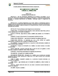 REGLAMENTO DE CEMENTERIO GONZALEZ, TAMAULIPAS