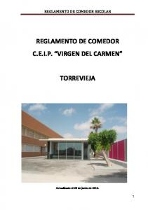 REGLAMENTO DE COMEDOR C.E.I.P. VIRGEN DEL CARMEN TORREVIEJA