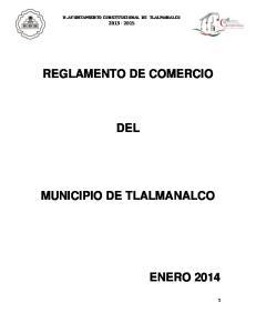 REGLAMENTO DE COMERCIO DEL MUNICIPIO DE TLALMANALCO