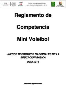 Reglamento de. Competencia. Mini Voleibol