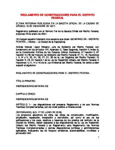 REGLAMENTO DE CONSTRUCCIONES PARA EL DISTRITO FEDERAL