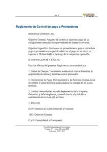 Reglamento de Control de pago a Proveedores