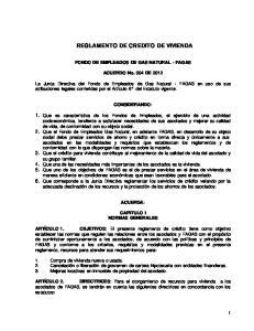 REGLAMENTO DE CREDITO DE VIVIENDA