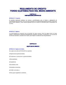 REGLAMENTO DE CREDITO FONDO GUATEMALTECO DEL MEDIO AMBIENTE