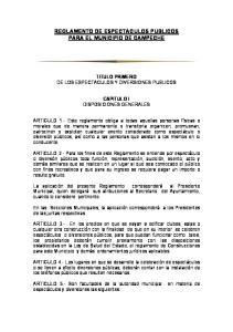 REGLAMENTO DE ESPECTACULOS PUBLICOS PARA EL MUNICIPIO DE CAMPECHE