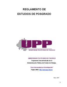 REGLAMENTO DE ESTUDIOS DE POSGRADO