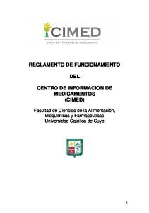 REGLAMENTO DE FUNCIONAMIENTO DEL CENTRO DE INFORMACION DE MEDICAMENTOS (CIMED)