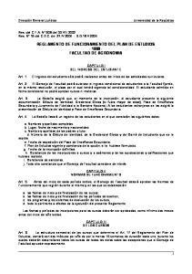 REGLAMENTO DE FUNCIONAMIENTO DEL PLAN DE ESTUDIOS FACULTAD DE AGRONOMIA