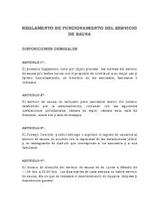 REGLAMENTO DE FUNCIONAMIENTO DEL SERVICIO DE SAUNA