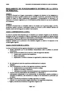 REGLAMENTO DE FUNCIONAMIENTO INTERNO DE LA JUNTA