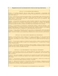 Reglamento de funcionamiento interno del Ayuntamiento