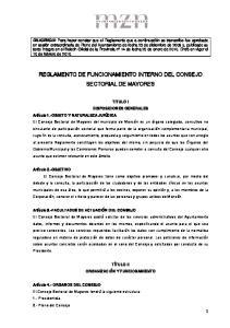 REGLAMENTO DE FUNCIONAMIENTO INTERNO DEL CONSEJO SECTORIAL DE MAYORES