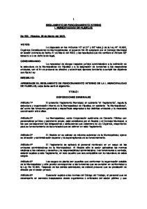 REGLAMENTO DE FUNCIONAMIENTO INTERNO I. MUNICIPALIDAD DE HIJUELAS