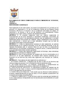 REGLAMENTO DE GIROS COMERCIALES PARA EL MUNICIPIO DE TOTATICHE, JALISCO CAPITULO I DISPOSICIONES GENERALES
