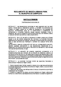REGLAMENTO DE IMAGEN URBANA PARA EL MUNICIPIO DE CAMPECHE