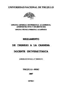 REGLAMENTO DE INGRESO A LA CARRERA DOCENTE UNIVERSITARIA