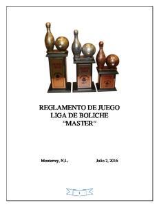 REGLAMENTO DE JUEGO LIGA DE BOLICHE MASTER