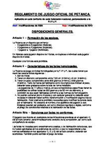 REGLAMENTO DE JUEGO OFICIAL DE PETANCA