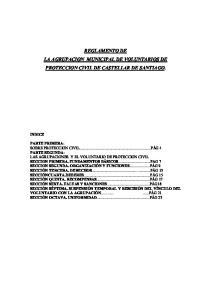 REGLAMENTO DE LA AGRUPACION MUNICIPAL DE VOLUNTARIOS DE PROTECCION CIVIL DE CASTELLAR DE SANTIAGO