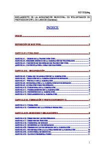 REGLAMENTO DE LA AGRUPACION MUNICIPAL DE VOLUNTARIOS DE PROTECCION CIVIL DE LAREDO (Cantabria). INDICE INDICE... 1