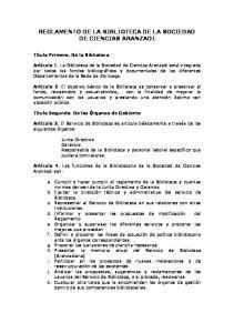 REGLAMENTO DE LA BIBLIOTECA DE LA SOCIEDAD DE CIENCIAS ARANZADI