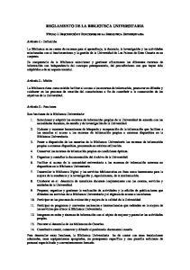 REGLAMENTO DE LA BIBLIOTECA UNIVERSITARIA