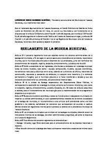 REGLAMENTO DE LA BODEGA MUNICIPAL