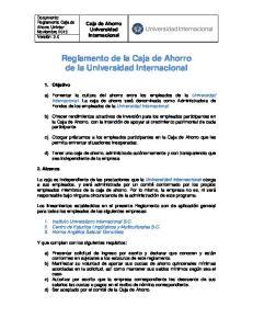 Reglamento de la Caja de Ahorro de la Universidad Internacional