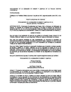 REGLAMENTO DE LA COMISION DE HONOR Y JUSTICIA DE LA POLICIA ESTATAL PREVENTIVA