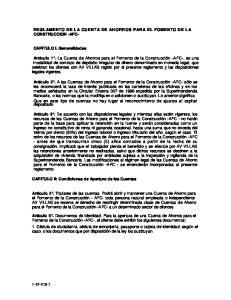 REGLAMENTO DE LA CUENTA DE AHORROS PARA EL FOMENTO DE LA CONSTRUCCION -AFC-