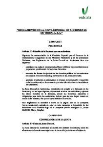 REGLAMENTO DE LA JUNTA GENERAL DE ACCIONISTAS DE VIDRALA, S.A