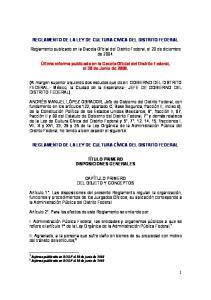 REGLAMENTO DE LA LEY DE CULTURA CIVICA DEL DISTRITO FEDERAL
