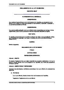 REGLAMENTO DE LA LEY DE MINERIA DECRETO 48-97