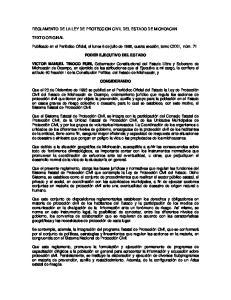 REGLAMENTO DE LA LEY DE PROTECCION CIVIL DEL ESTADO DE MICHOACAN