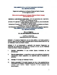 REGLAMENTO DE LA LEY DE PUBLICIDAD EXTERIOR DEL DISTRITO FEDERAL