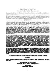 REGLAMENTO DE LA LEY DEL AGUA PARA EL ESTADO DE JALISCO Y SUS MUNICIPIOS