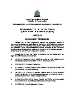 REGLAMENTO DE LA LEY DEL FONDO SOCIAL PARA LA VIVIENDA (FOSOVI)