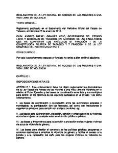 REGLAMENTO DE LA LEY ESTATAL DE ACCESO DE LAS MUJERES A UNA VIDA LIBRE DE VIOLENCIA