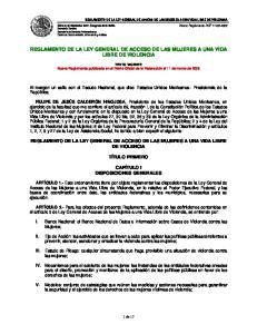 REGLAMENTO DE LA LEY GENERAL DE ACCESO DE LAS MUJERES A UNA VIDA LIBRE DE VIOLENCIA