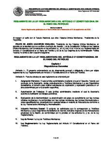 REGLAMENTO DE LA LEY REGLAMENTARIA DEL ARTÍCULO 27 CONSTITUCIONAL EN EL RAMO DEL PETRÓLEO