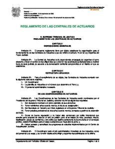 REGLAMENTO DE LAS CENTRALES DE ACTUARIOS
