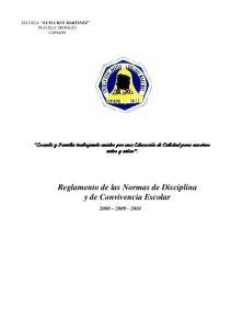 Reglamento de las Normas de Disciplina y de Convivencia Escolar