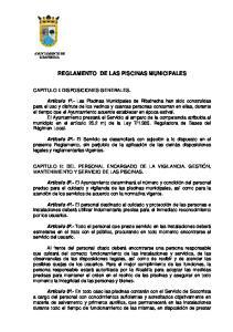 REGLAMENTO DE LAS PISCINAS MUNICIPALES