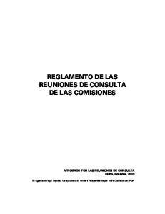 REGLAMENTO DE LAS REUNIONES DE CONSULTA DE LAS COMISIONES